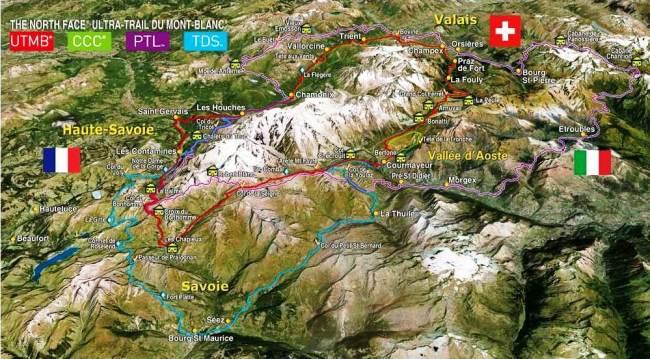 Ultra Trail Mont Blanc 2013. Mapa de las 4 carreras