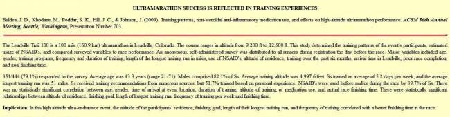 Dopaje y deporte - Frecuencia declarada de uso de NSAID en carreras ultra resistencia Leadville 2009