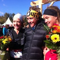 Emelie Forsberg podio Templiers 2012 con Nuria Picas y Lizzy Hawker. Foto: Org.