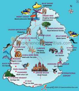 Ultra trail Isla Mauricio: Mapa gráfico de la isla.
