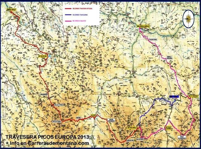 Mapa Travesera Picos Europa 2013 Carrerasdemontana.com 2