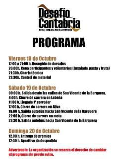 Desafio Cantabria 2013 programa
