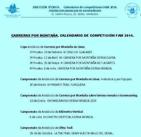 Calendario Carreras Montaña 2014 Andalucia FEDAMON