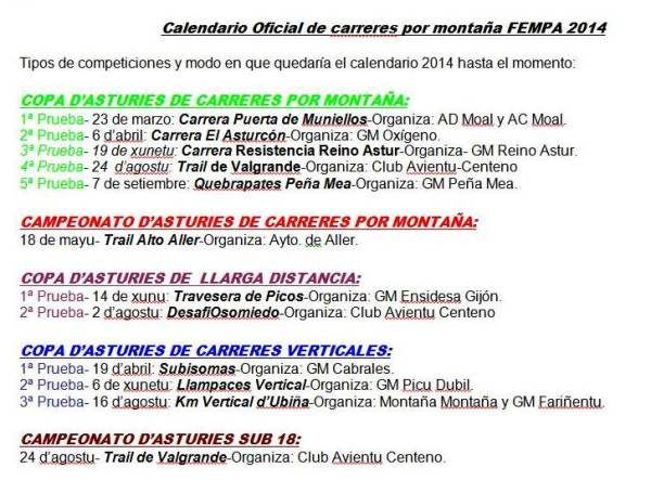 Carreras Montaña Asturias 2014: Resumen gráfico para consulta/descarga.