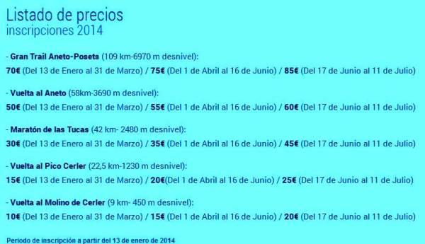 Trail Aneto 2014 inscripciones y precios por Mayayo