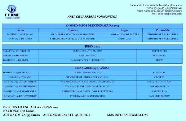 Calendario Carreras Montaña 2014 Extremadura 2