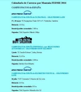 Campeonatos España FEDME 2014, según calendario 17OCT13