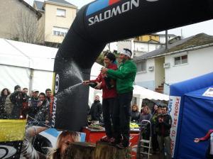 Carrera Alto Sil 2012: Campeones Marco De Gasperi y Oihana Kortazar. Foto: Roberto Carril.