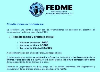Carreras Montaña FEDME 2014 Canon Homologacion