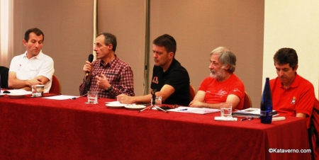 Michel Poletti junto a los directores de Penygolosa Trails, Transgrancanaria, Volta Cerdanya y Gran trail Peñalara.