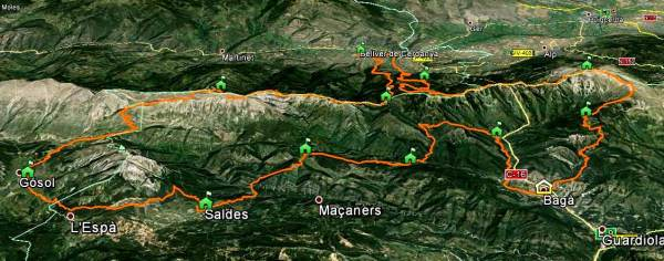 Ultra Pirineu 2014. Mapa íntegro del recorrido 100k. Salida y meta en Bagá.