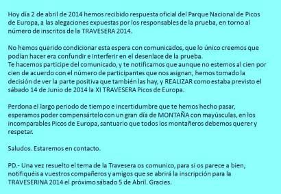 Travesera Picos Europa 2014 confirma carrera
