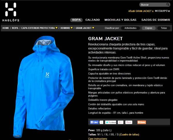 Haglöfs Gram Jacket: Ficha técnica oficial en la web de la marca.