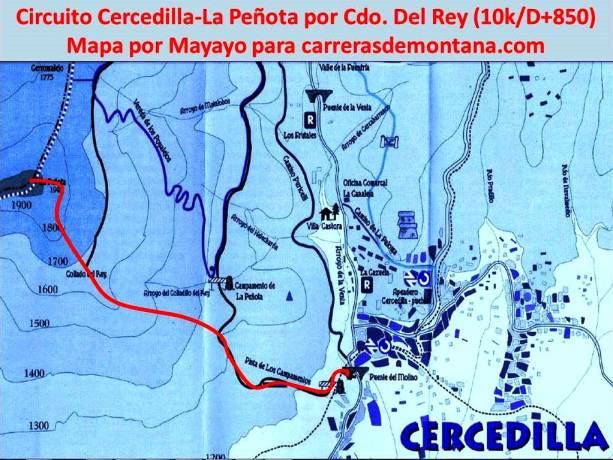 Trail running Madrid Cercedilla a La Peñota por Collado del Rey 10k D+850m Mapa por Mayayo