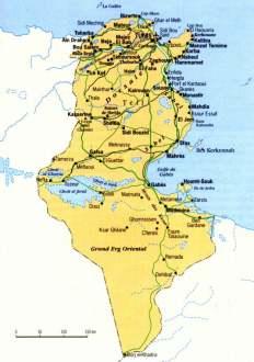 Mapa de Túnez.