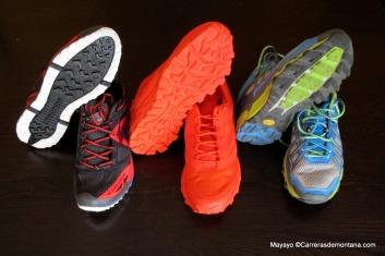 Zapatillas ultra trail: Brooks Cascadia 9,  Haglöfs Gram gravel y  Dynafit Pantera.