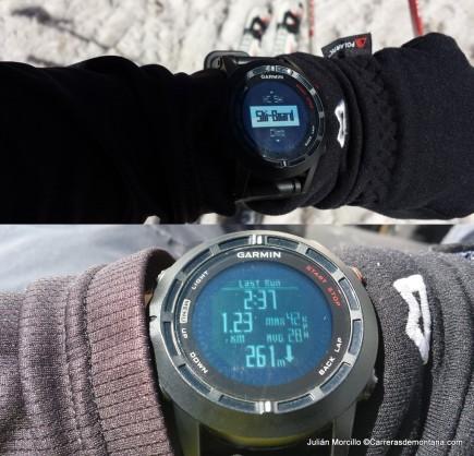 Modo de esquí en pista. Abajo se muestra una pantalla con los datos de un descenso: tiempo empleado, distancia, desnivel descendido y velocidad media y máxima