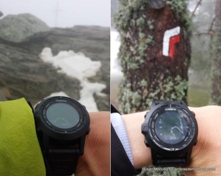 Izquierda, Garmin Fenix2 con niebla en el Monte Abantos. Derecha, navegando con Fenix2.