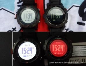 Garmin Fenix (izquierda) y Fenix2 (derecha) de día y de noche.