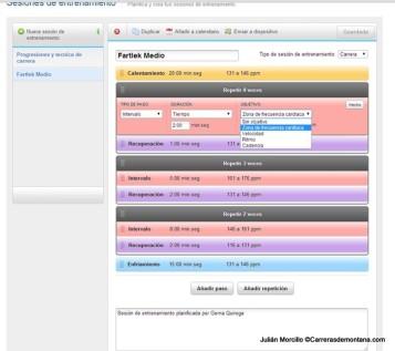 Ejemplo de sesión de entrenamiento configurada mediante Garmin Connect.