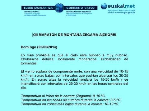 Zegama Aizkorri 2014 previsión meteo oficial Euskalmet