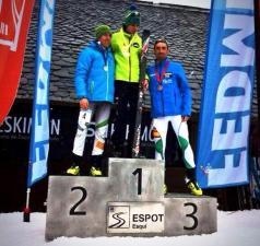Luis Alberto Hernando, Manuel Merillas y Nil Cardona en podio Campeonato España Skimo 2014.