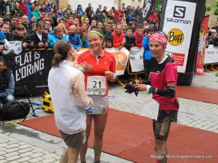 Emelie at the Zegama finish, with Stevie Kremer (1st) and Elisa Desco (3rd)
