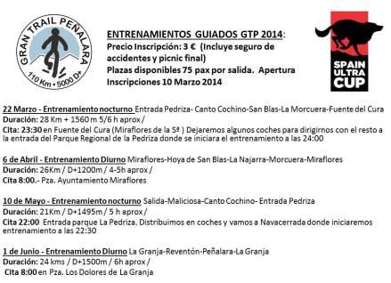 Gran trail Peñalara 2014: Plan  entrenamientos guiados