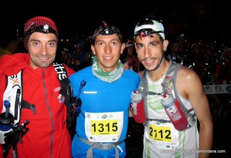 Salida Transvulcania 2014: Santi Obaya, Manuel Merillas y Pablo Villa.