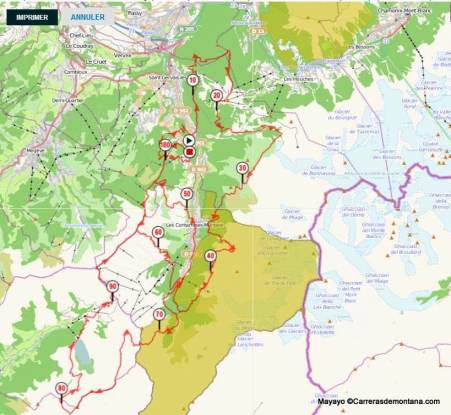 Mont Blanc: Mapa carrera Montagn´Hard 2014 por la Val de MontJoie.