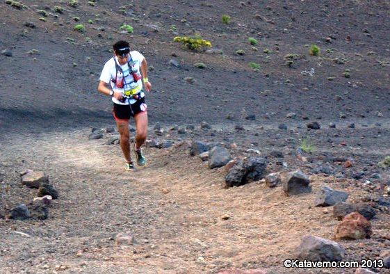 Sage Canaday liderando Transvulcania 2013, donde acabaría 3º. Foto: Kataverno.com
