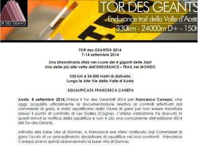 Francesca Canepa descalificada Tor des Geants 2014, comunicado oficial