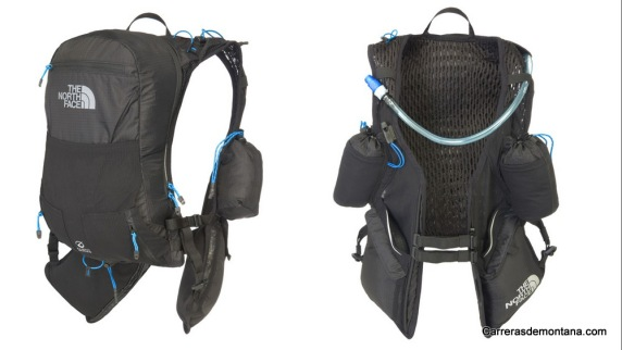 Mochila trail running TNF Race Vest: Vista frontal y trasera