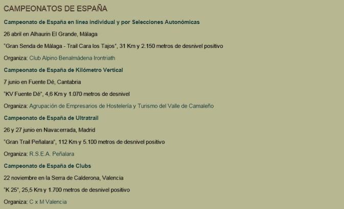 Carreras Montaña 2015 FEDME: Campeonatos España.