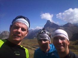 Rodando con Luis Alberto Hernando y Miguel Caballero en el pico Monge.