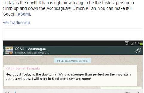 Kilian Jornet asalto Aconcagua 15dic