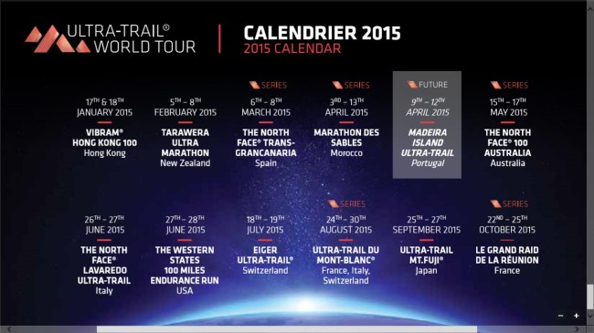 Ultra Trail world tour 2015 calendar