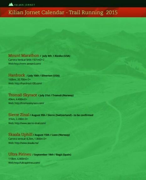 Kilian Jornet trail running calendario 2015