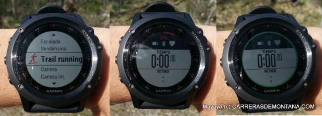 Secuencia de inicio de una actividad de Trail Running con Garmin Fenix3.