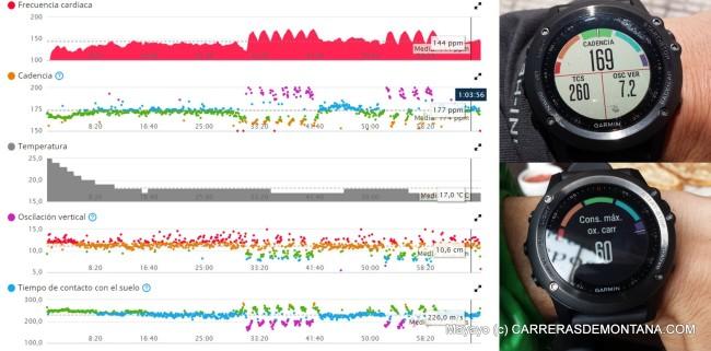 enix3 (cómo Fenix2) ofrece gran cantidad de información sobre nuestro rendimiento deportivo. Aquí mostramos: datos de dinámica de carrera en Garmin Connect y en el reloj, y datos de VOmax. Nótese como los datos más elevados de cadencia (color morado, carrera más eficiente) se corresponden con datos menores de tiempo de contacto con el suelo y oscilación vertical.
