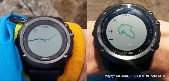 Navegando con el Fenix3. Izquierda, siguiendo un track (en verde). Derecha, mapa de una ruta mostrando nivel de zoom. Una de las ventajas de la navegación con el Fenix3 es que el nivel de zoom es configurable.