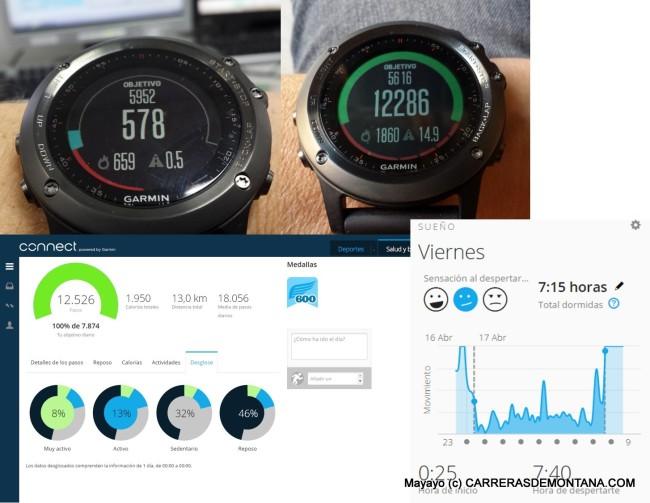 Seguimiento de la actividad diaria con Garmin Fenix3. Arriba, dos imágenes del contador de pasos y calorías (a la derecha, objetivo cumplido). Abajo, más estadísticas de actividad: izquierda, resumen diario; derecha, registro de movimiento durante el periodo de sueño en Garmin Connect.