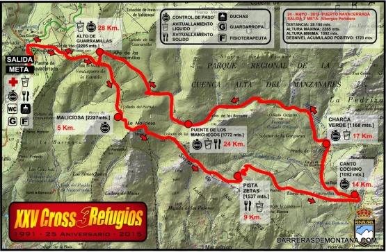 Cross 3 Refugios 2015 mapa de carrera