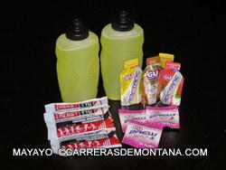 Nutricion deportiva: Líquido isotónico, geles, barritas y pastillas sales.