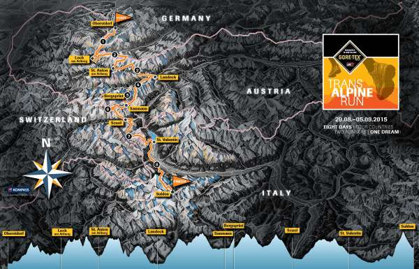Transalpine goretex run 2015: Mapa y perfil de carrera.