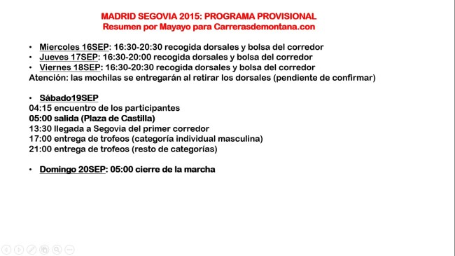 Madrid Segovia 2015 Programa
