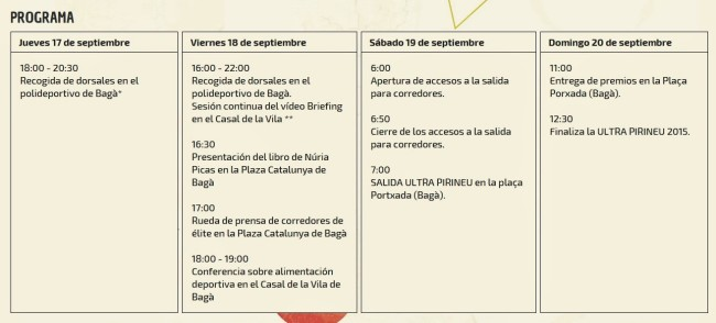 Ultra Pirineu 2015 Programa (2)
