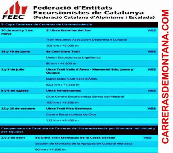 Calendario Carreras Ultra Resistencia Cataluña 2016 FEEC.