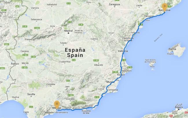 Ultrarunning: Barcelona - Málaga. 1.100km