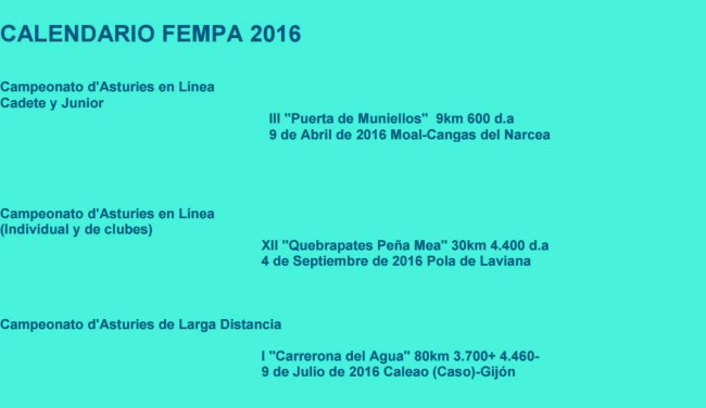 Calendario Carreras Montaña Asturias 2016: Campeonatos